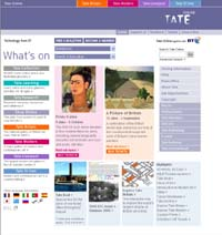 Screenshot of the Tate Online front page