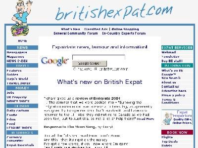 Screenshot of British Expat homepage, March 2004