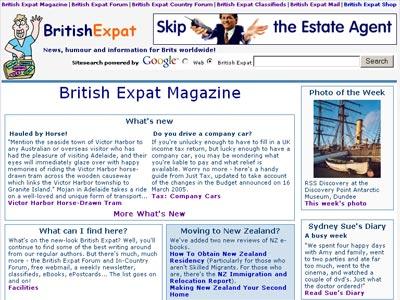 Screenshot of British Expat homepage, March 2005