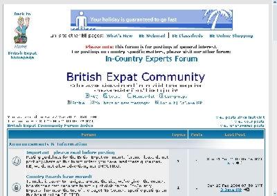 Screenshot of British Expat Community Forum
